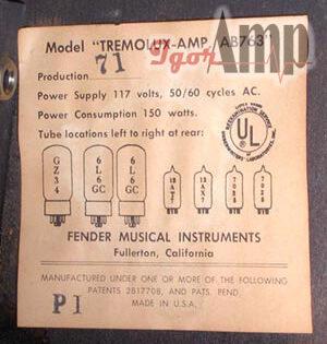 Datazione Amplificatori Fender